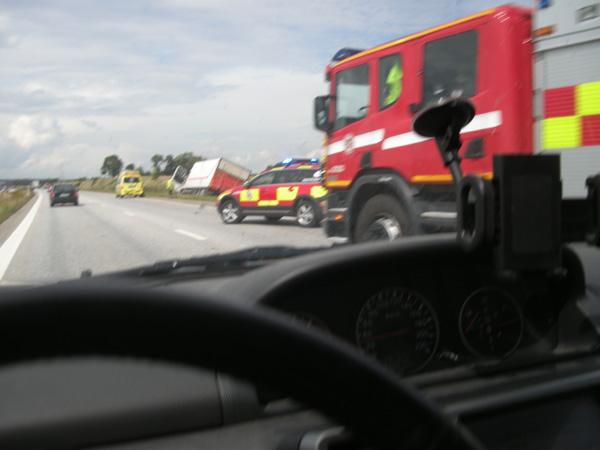 Mindre olycka på motorvägen E 6 vid Löddeköpinge