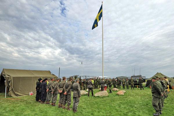 Flaggceremoni vid Beredskapsmuseet i Djuramossa den 4 sept 2011. foto Lars Dahlbom