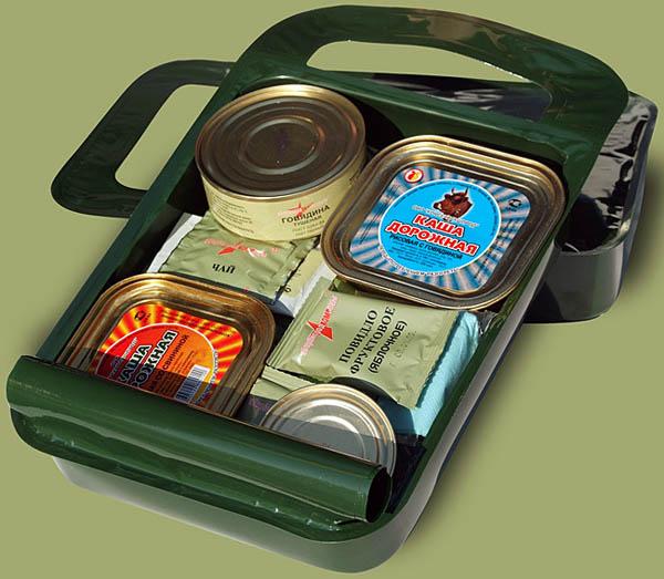 Rysk stridsportionssats. Konserver och folieförpacknngar.