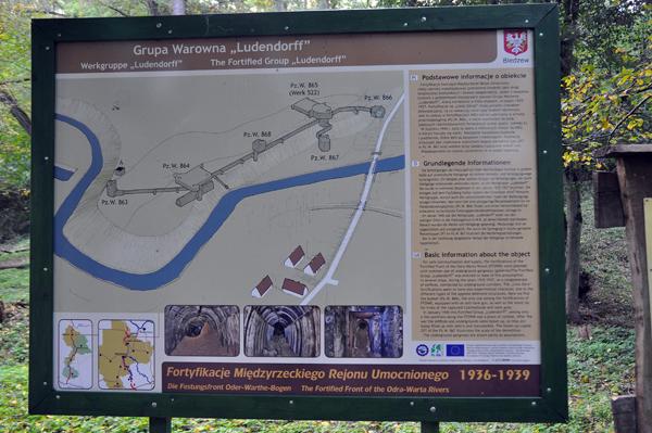 Informationstavlan vid Panzerwerk Ludendorff