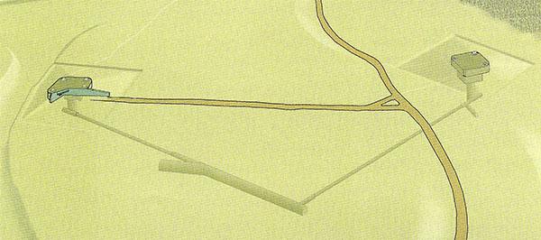 En schematisk skiss över PanzerWerk Schill  (bild ur boken Festungsfront Oder-Warthe-Bogen kurz und knapp)