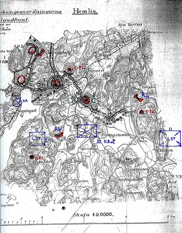 Karta Landfronten, söder Käringberget och Nya varvet.